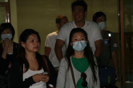 Auf dem Flughafen besonders vorsichtige Fluggäste.