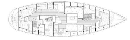 Detaillierte Raumaufteilung unserer Hallberg-Rassy 42